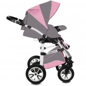 Carucior copii 3 in 1 Vessanti Flamingo Easy Drive Gray-Pink