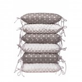 Set 6 pernute protectie laterala patut copii Grey Dots