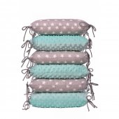 Set 6 pernute protectie laterala patut copii Stars Grey