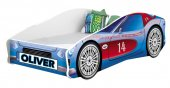 Set Pat Tineret 160x80 Speed Race Car Blue + Saltea